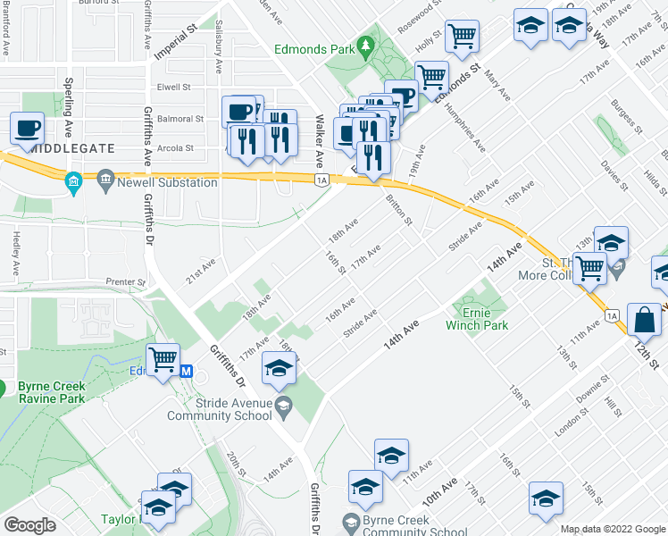 map of restaurants, bars, coffee shops, grocery stores, and more near 7433 16th Street in Burnaby