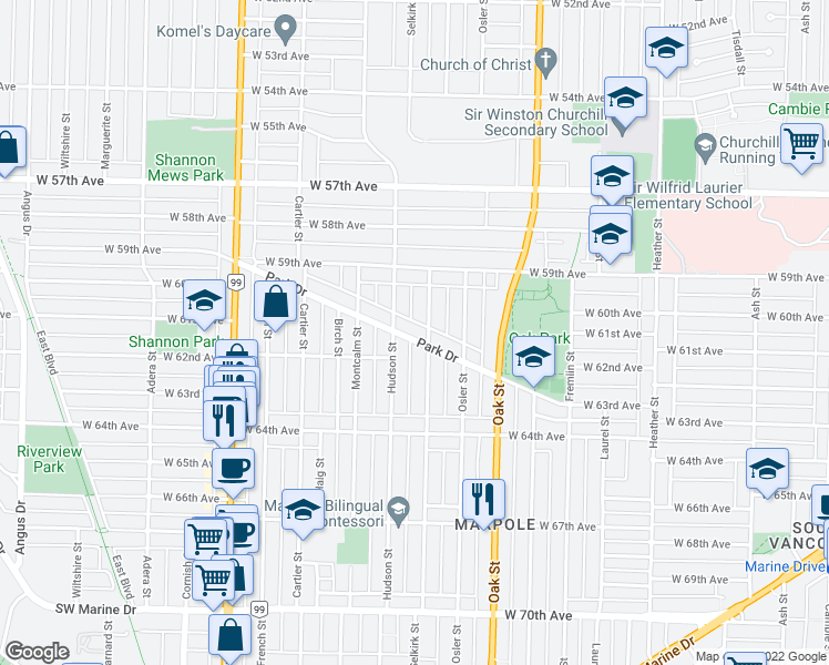 map of restaurants, bars, coffee shops, grocery stores, and more near 1227 Park Drive in Vancouver