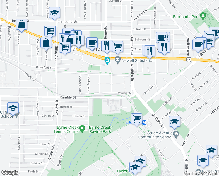 map of restaurants, bars, coffee shops, grocery stores, and more near 7436 Magnolia Terrace in Burnaby