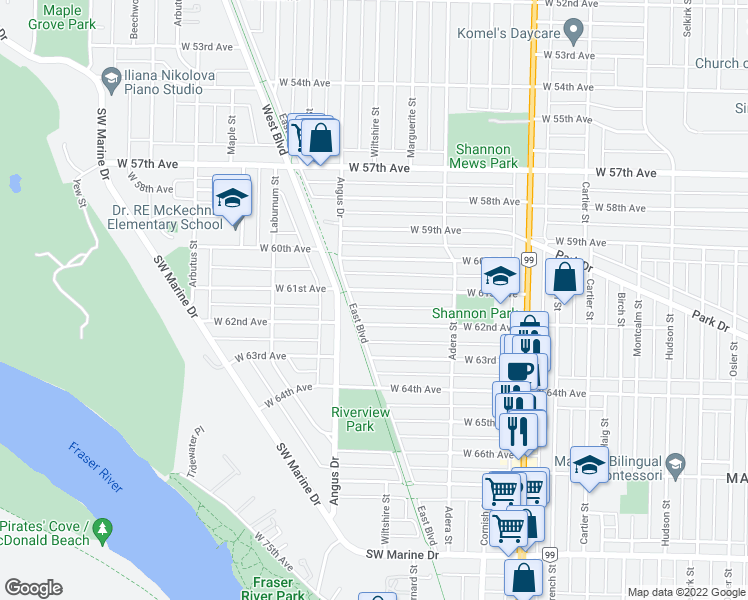 map of restaurants, bars, coffee shops, grocery stores, and more near 1744 West 61st Avenue in Vancouver