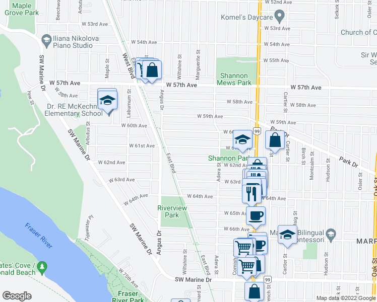 map of restaurants, bars, coffee shops, grocery stores, and more near 1700 West 61st Avenue in Vancouver