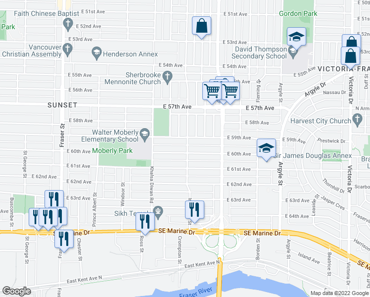 map of restaurants, bars, coffee shops, grocery stores, and more near 7575 Inverness Street in Vancouver