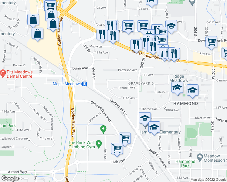 map of restaurants, bars, coffee shops, grocery stores, and more near 20170 Stanton Avenue in Maple Ridge