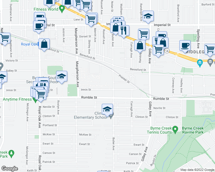 map of restaurants, bars, coffee shops, grocery stores, and more near 5889 Irmin Street in Burnaby