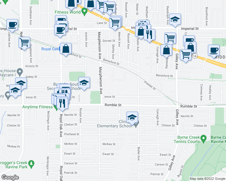 map of restaurants, bars, coffee shops, grocery stores, and more near 5775 Irmin Street in Burnaby
