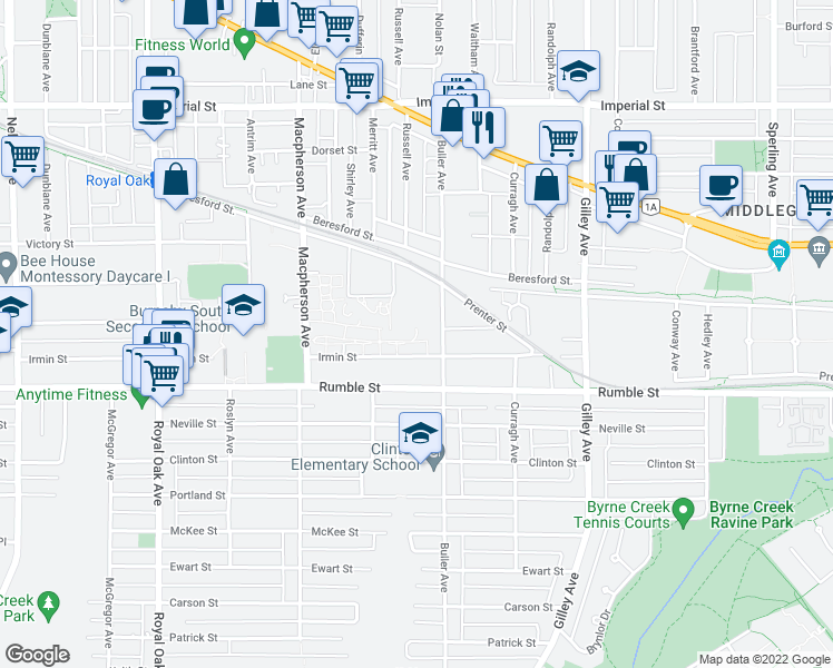 map of restaurants, bars, coffee shops, grocery stores, and more near 5885 Irmin Street in Burnaby