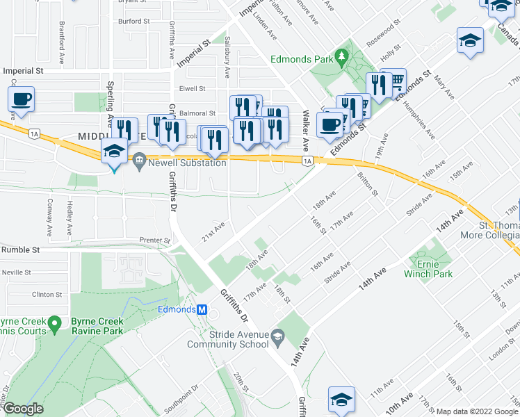map of restaurants, bars, coffee shops, grocery stores, and more near 7151 Edmonds Street in Burnaby