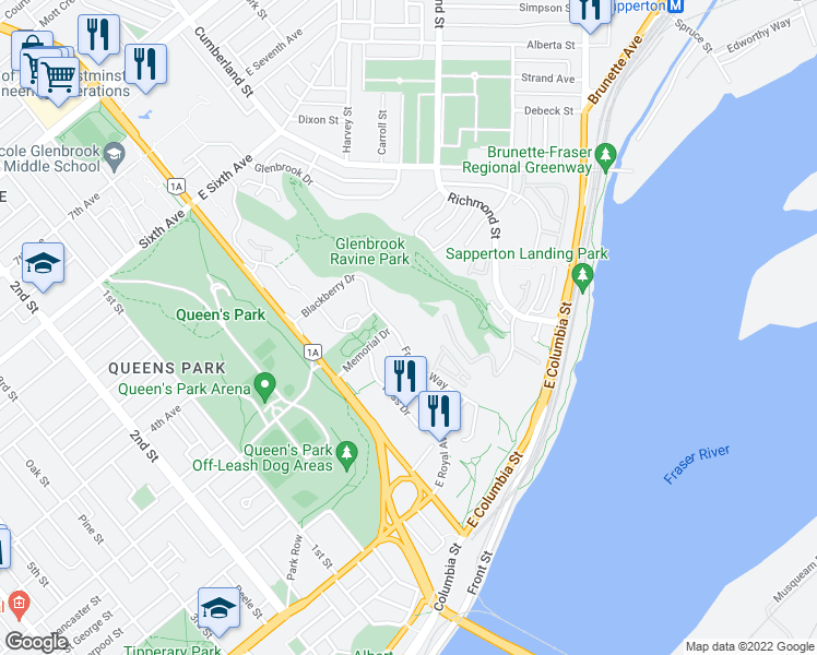 map of restaurants, bars, coffee shops, grocery stores, and more near 271 Francis Way in New Westminster