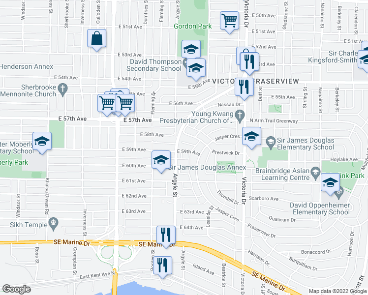 map of restaurants, bars, coffee shops, grocery stores, and more near 1741 East 59th Avenue in Vancouver