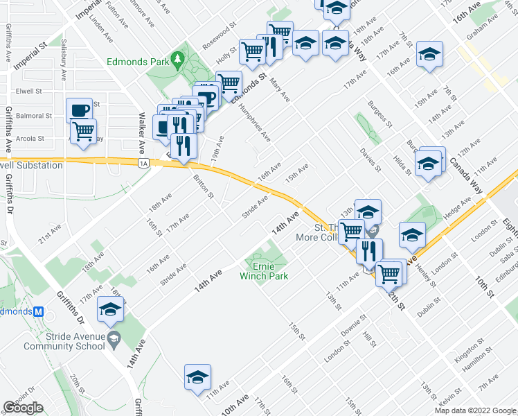 map of restaurants, bars, coffee shops, grocery stores, and more near 7370 Stride Avenue in Burnaby