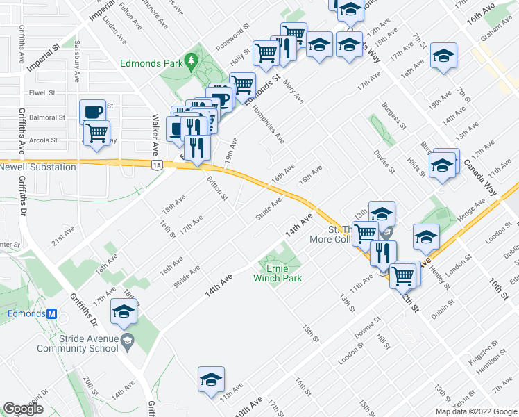 map of restaurants, bars, coffee shops, grocery stores, and more near 7345 Stride Avenue in Burnaby