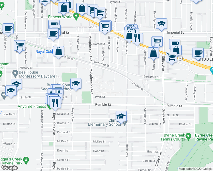 map of restaurants, bars, coffee shops, grocery stores, and more near 5788 Sidley Street in Burnaby