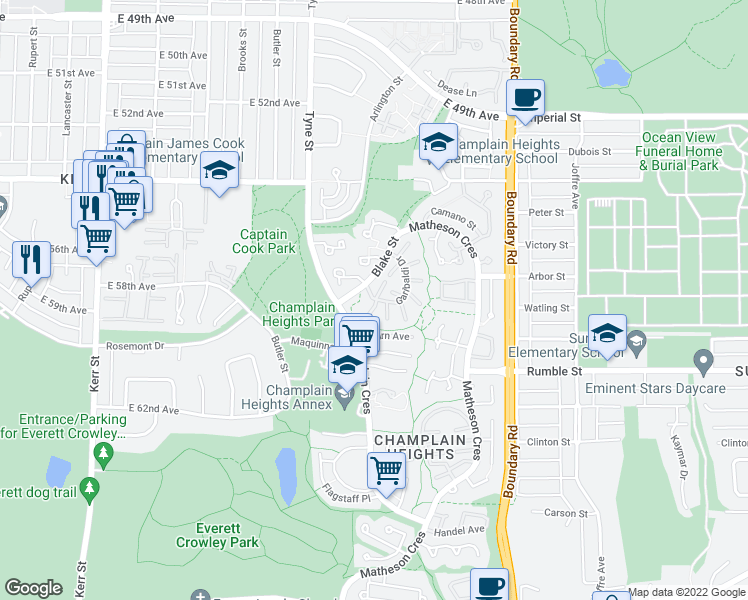 map of restaurants, bars, coffee shops, grocery stores, and more near 7415 Meadowland Place in Vancouver