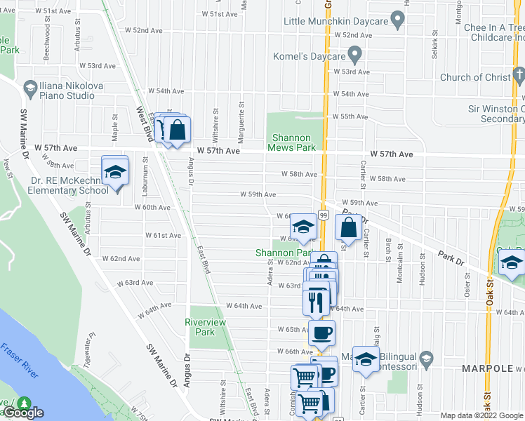 map of restaurants, bars, coffee shops, grocery stores, and more near 1609 West 60th Avenue in Vancouver