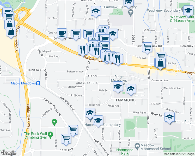 map of restaurants, bars, coffee shops, grocery stores, and more near 20368 118 Avenue in Maple Ridge