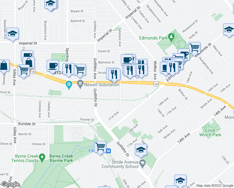 map of restaurants, bars, coffee shops, grocery stores, and more near 7275 Salisbury Avenue in Burnaby