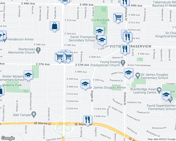 map of restaurants, bars, coffee shops, grocery stores, and more near 1665 East 58th Avenue in Vancouver