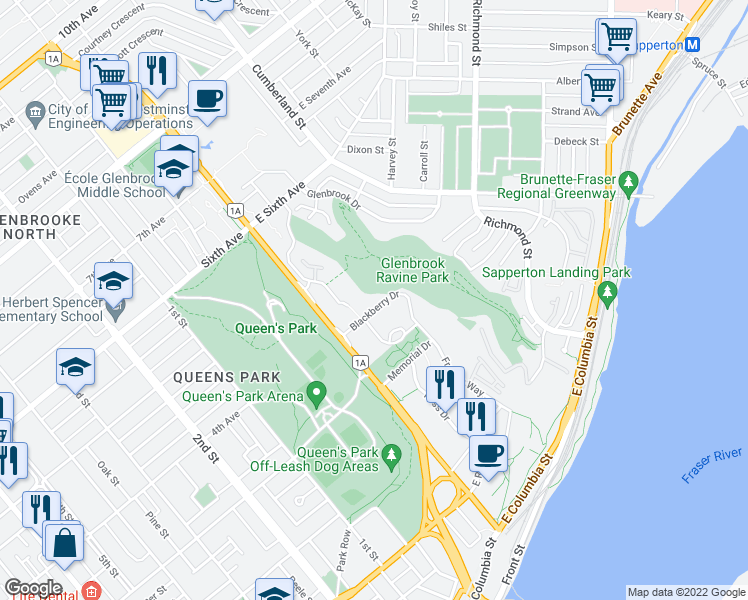 map of restaurants, bars, coffee shops, grocery stores, and more near 55 Blackberry Drive in New Westminster