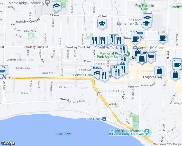 map of restaurants, bars, coffee shops, grocery stores, and more near 11841 222 Street in Maple Ridge