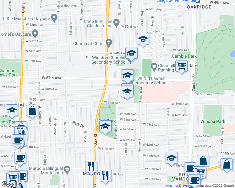 map of restaurants, bars, coffee shops, grocery stores, and more near 950 West 58th Avenue in Vancouver