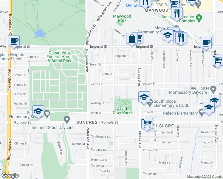 map of restaurants, bars, coffee shops, grocery stores, and more near 7249 McKay Avenue in Burnaby