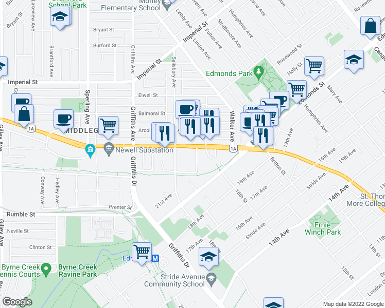 map of restaurants, bars, coffee shops, grocery stores, and more near 7225 Acorn Avenue in Burnaby