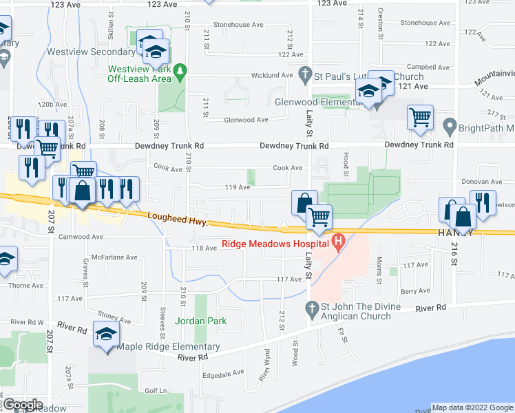 map of restaurants, bars, coffee shops, grocery stores, and more near 21163 Lougheed Highway in Maple Ridge