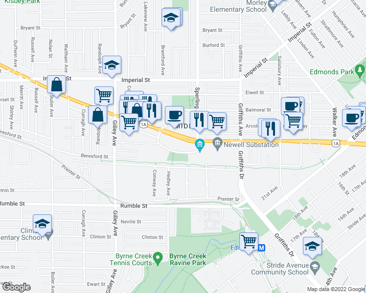 map of restaurants, bars, coffee shops, grocery stores, and more near 6659 Southoaks Crescent in Burnaby