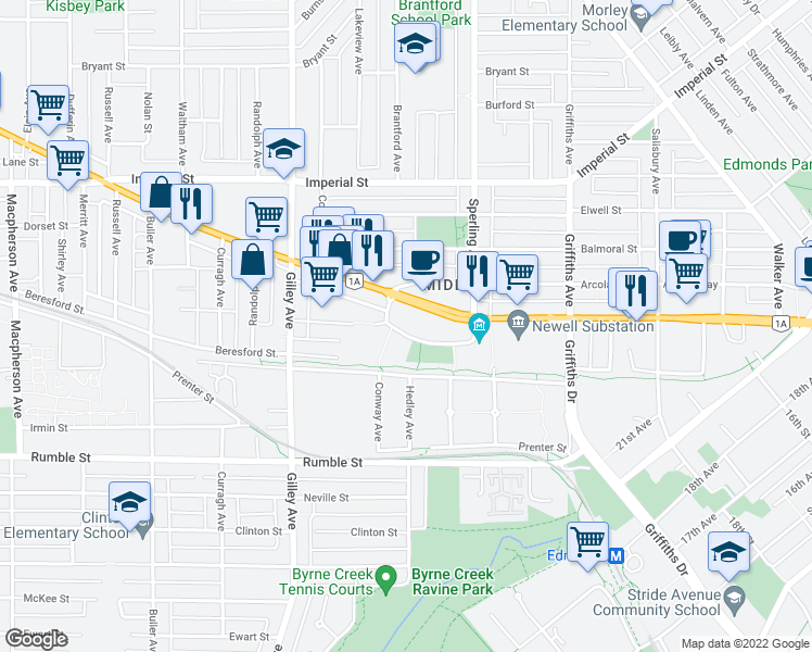 map of restaurants, bars, coffee shops, grocery stores, and more near 6611 Southoaks Crescent in Burnaby