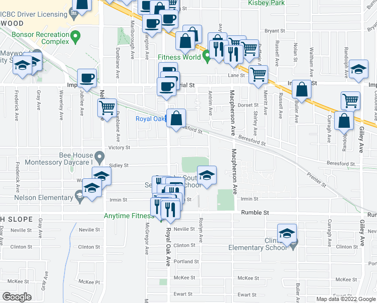 map of restaurants, bars, coffee shops, grocery stores, and more near 5350 Victory Street in Burnaby