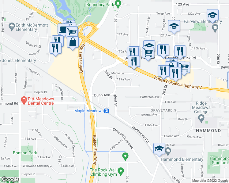 map of restaurants, bars, coffee shops, grocery stores, and more near West Street in Maple Ridge