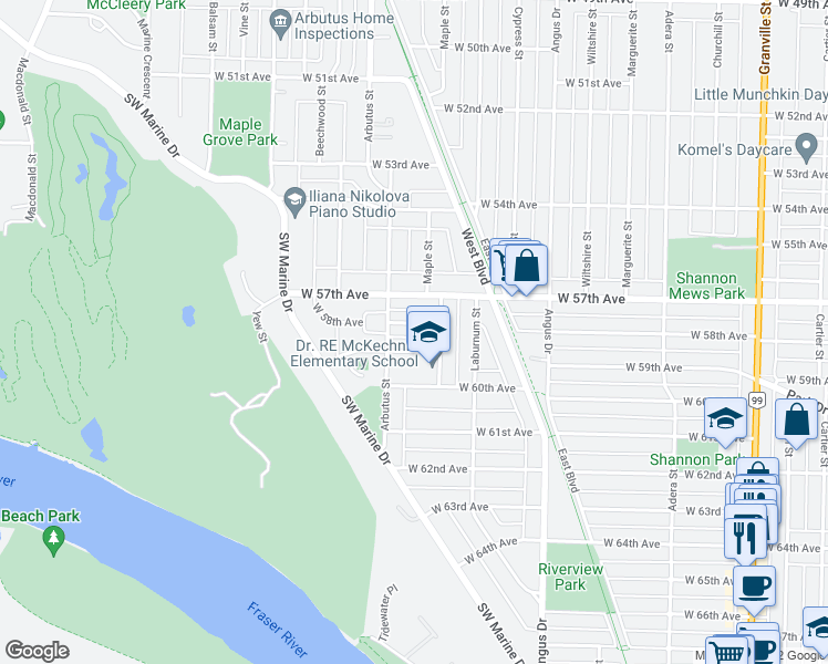 map of restaurants, bars, coffee shops, grocery stores, and more near 2040 West 58th Avenue in Vancouver