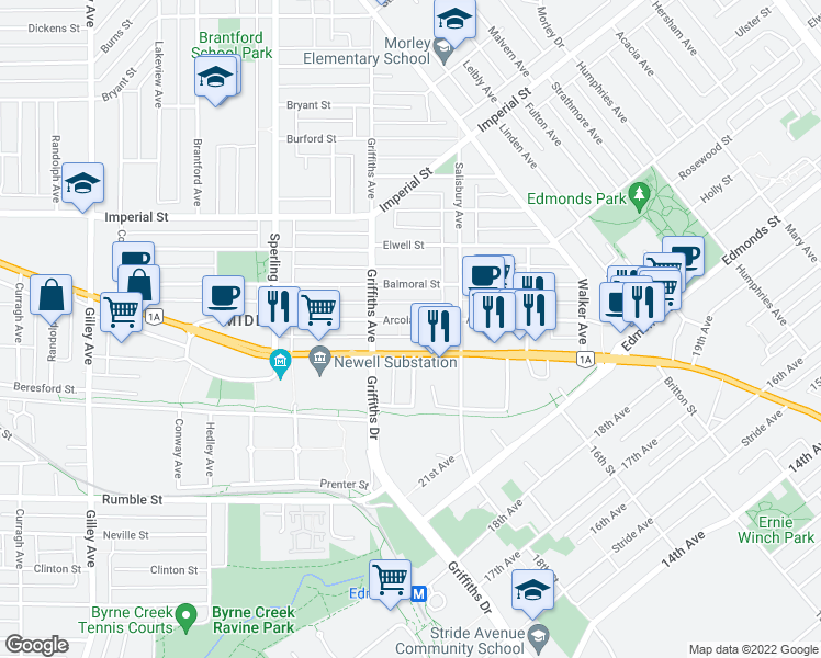 map of restaurants, bars, coffee shops, grocery stores, and more near 6988 Arcola Street in Burnaby