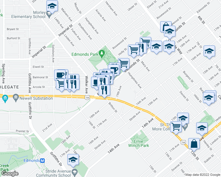map of restaurants, bars, coffee shops, grocery stores, and more near 7350 Edmonds Street in Burnaby