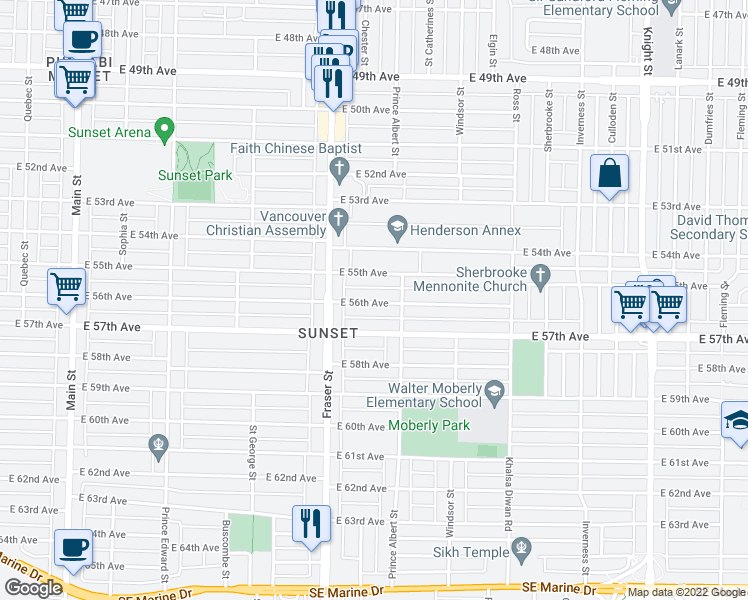 map of restaurants, bars, coffee shops, grocery stores, and more near 759 East 56th Avenue in Vancouver