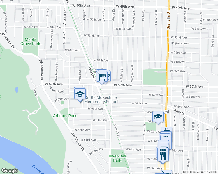 map of restaurants, bars, coffee shops, grocery stores, and more near 7307 Angus Drive in Vancouver