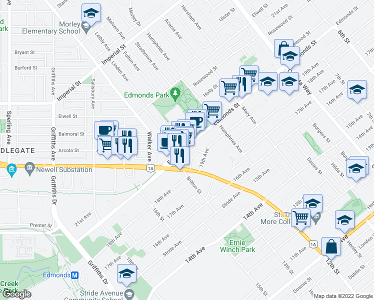 map of restaurants, bars, coffee shops, grocery stores, and more near 7303 Noble Lane in Burnaby