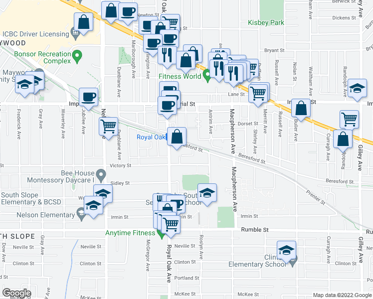 map of restaurants, bars, coffee shops, grocery stores, and more near 5288 Beresford Street in Burnaby