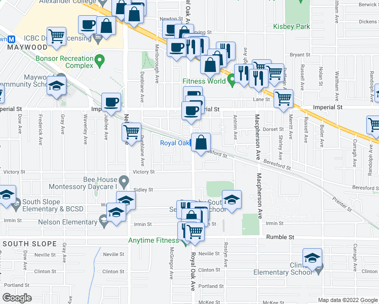 map of restaurants, bars, coffee shops, grocery stores, and more near 7001 Royal Oak Avenue in Burnaby