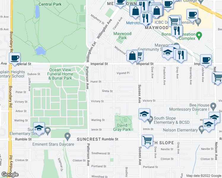map of restaurants, bars, coffee shops, grocery stores, and more near 4289 Greta Street in Burnaby