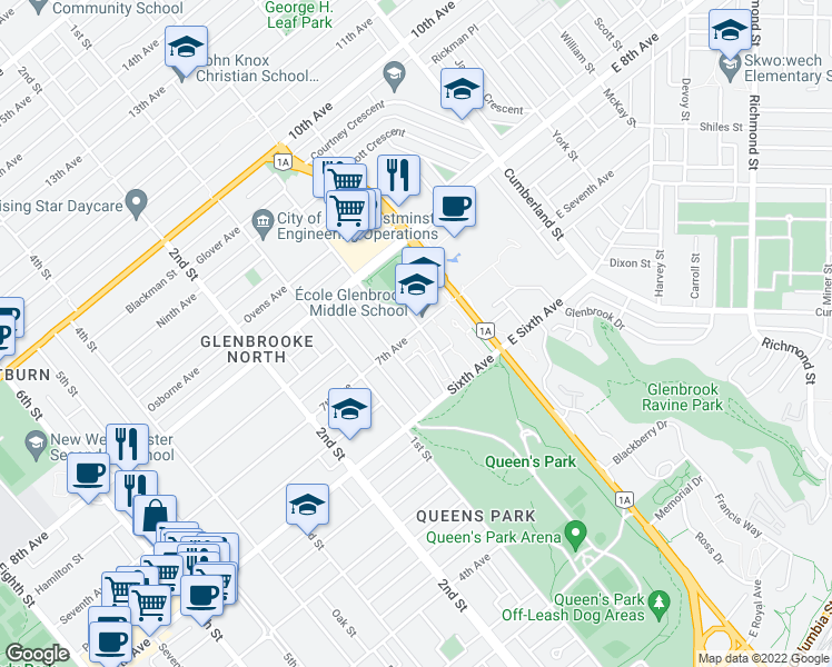 map of restaurants, bars, coffee shops, grocery stores, and more near 600 Park Crescent in New Westminster