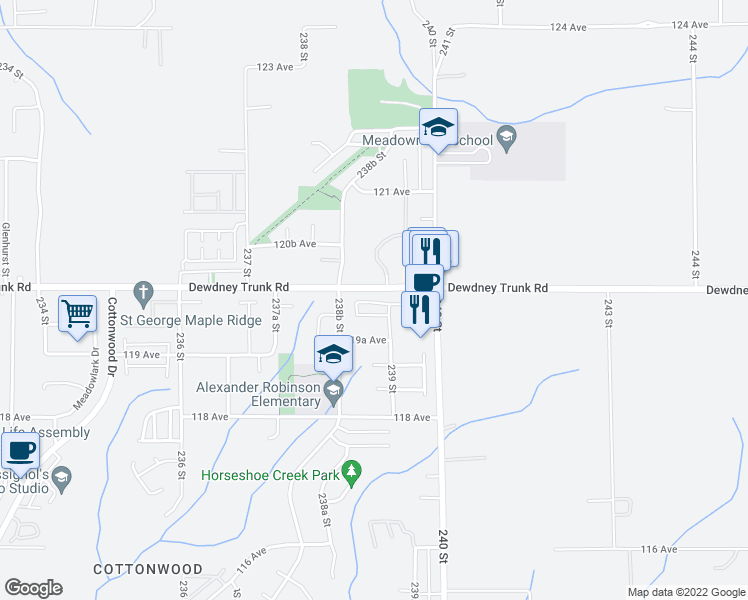 map of restaurants, bars, coffee shops, grocery stores, and more near 23906 Dewdney Trunk Road in Maple Ridge