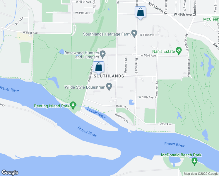 map of restaurants, bars, coffee shops, grocery stores, and more near 7225 Blenheim Street in Vancouver