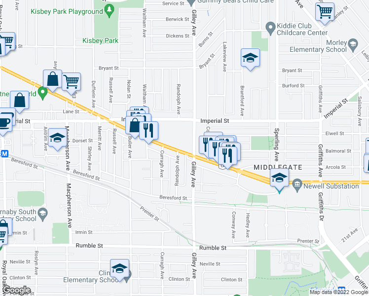 map of restaurants, bars, coffee shops, grocery stores, and more near 6283 Kingsway in Burnaby