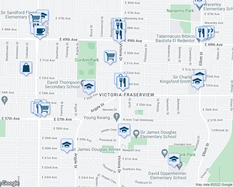 map of restaurants, bars, coffee shops, grocery stores, and more near 6991 Victoria Drive in Vancouver