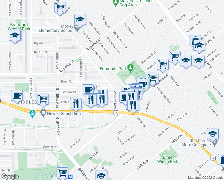 map of restaurants, bars, coffee shops, grocery stores, and more near 6985 Walker Avenue in Burnaby