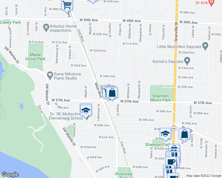 map of restaurants, bars, coffee shops, grocery stores, and more near 7168 Cypress Street in Vancouver