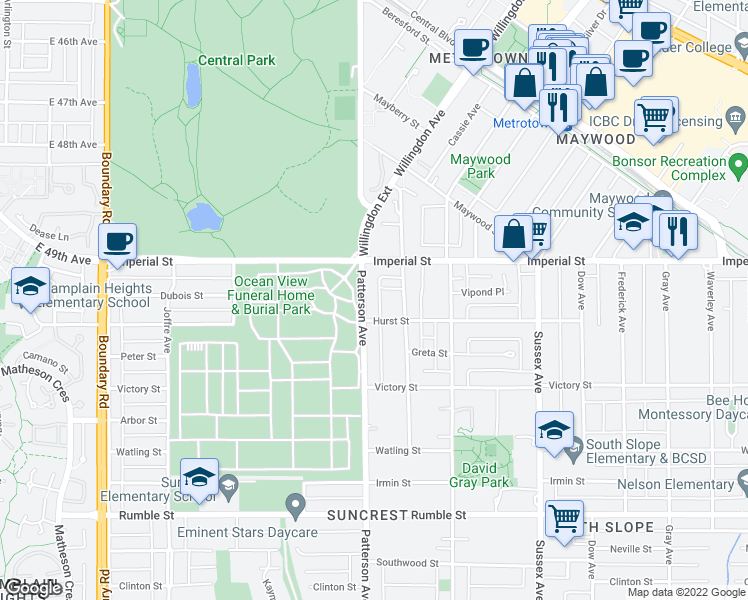 map of restaurants, bars, coffee shops, grocery stores, and more near 6912 Patterson Avenue in Burnaby