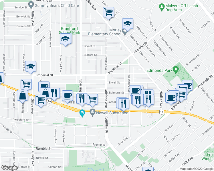 map of restaurants, bars, coffee shops, grocery stores, and more near 6912 Griffiths Avenue in Burnaby