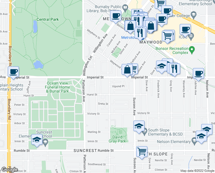 map of restaurants, bars, coffee shops, grocery stores, and more near 6909 McKay Avenue in Burnaby